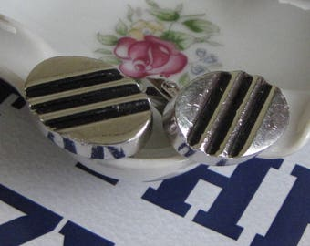 Black and Silver Cuff Links Swank Silver-Toned with Black Lines Vintage Men's Jewelry and Accessories Formal Wear