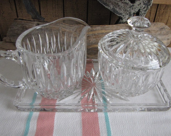 Princess House Crystal Cream and Sugar Bowl with Underplate Lead Crystal Vintage Dinnerware and Replacements