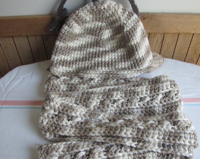Crocheted cream and beige winter scarf and hat set Irish stitched 100% acrylic yarn