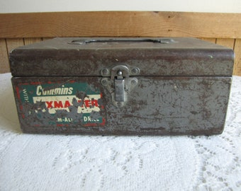 Cummins Metal Tool Box Vintage Boxes and Drill Storage Old Metal Boxes Industrial Salvage