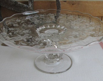 Viking Etched Glass Cake Stand Prelude Line Radiance Vintage Kitchens 1940 to 1986