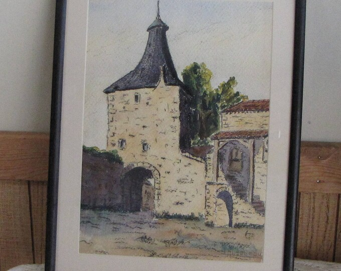Framed Watercolor Architecture Art Colonel Raoul Monory Artist Signed L. Audebeau