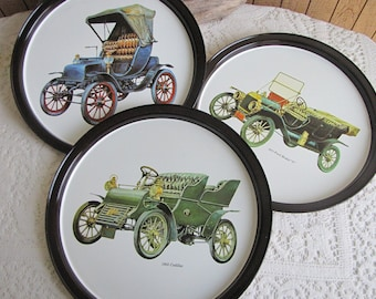 Metal bar trays auto motif 1960s Vintage Barware