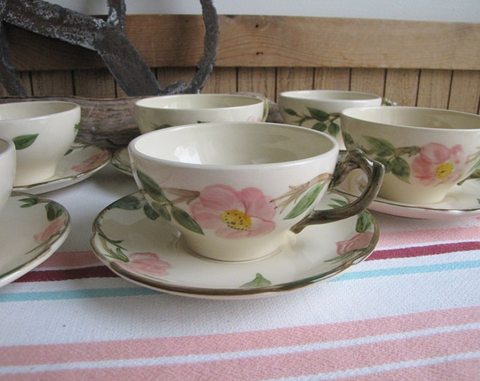 Franciscan Desert Rose Cups and Saucers Vintage Dinnerware and Replacements Set of Eight (8) Circa 1949-1953