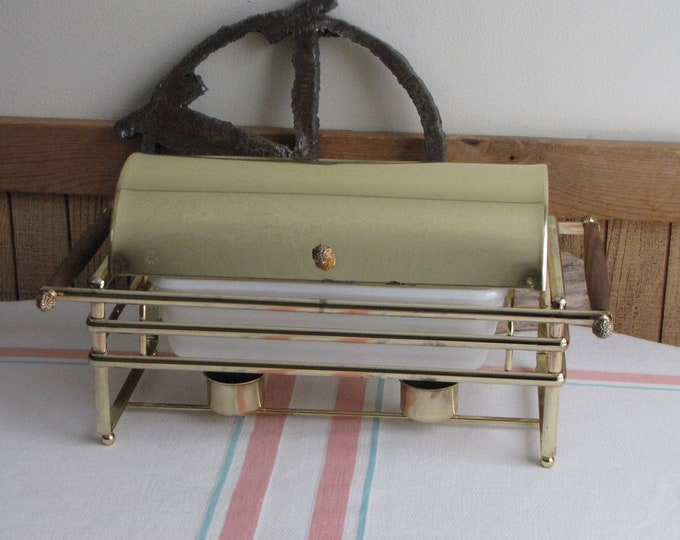 Fire King Casserole and Brass Stand Vintage Dining and Entertaining