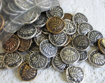 Craft Supplies: Silver Toned and Gold Toned Indian Headdress Vintage Jewelry and Blanks