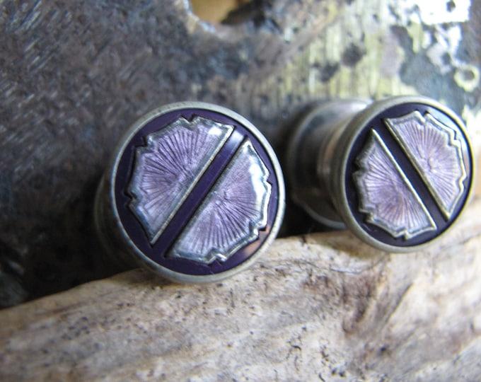 Purple art deco cuff studs Vintage Men's Jewelry and Accessories