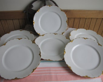 Haviland Ranson Dinner Plates Vintage Dinnerware and Replacements Gold Trim Set of Six (6) Plates Circa 1920s Imperfections