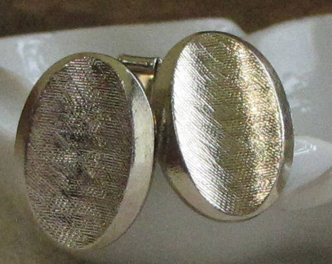 Brushed Gold Toned Cufflinks Men's Vintage Jewelry and Accessories