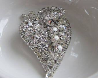 Large Rhinestone Leaf Brooch Vintage Women's Jewelry and Accessories