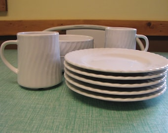 Schonwald White Swirled Pattern Restaurant Ware Vintage Dinnerware and Replacements Five (5) 1955-1997 Nine (9) Pieces
