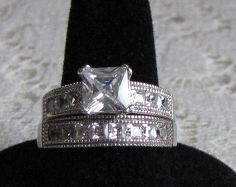 Wedding Ring Set Sterling Silver and Cubic Zirconia Vintage Jewelry and Accessories