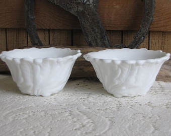 Vintage Milk Glass Wild Rose fruit cocktail bowls set of 2 by Indiana Glass