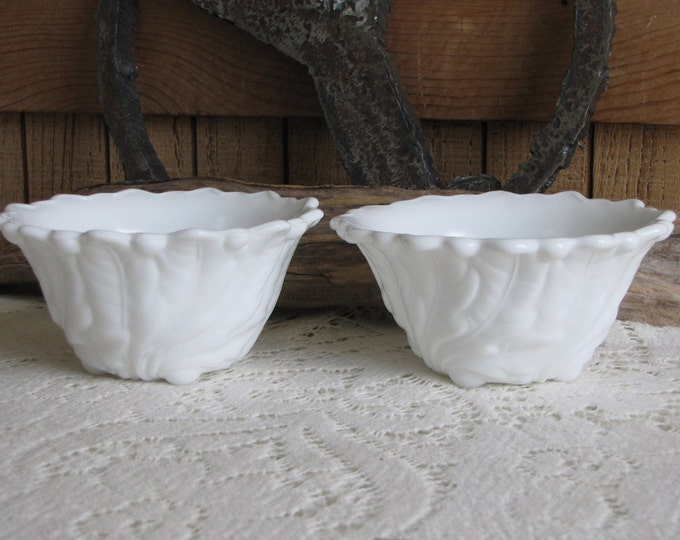 Milk Glass Wild Rose by Indiana Glass Two (2) Fruit Cocktail Bowls Vintage Dinnerware and Replacements