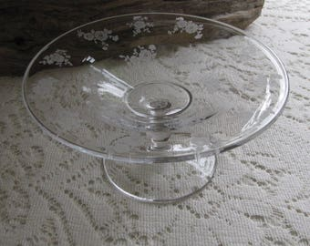 Vintage Etched Glass Small Footed Plate Flowers Design Small Serving Dish