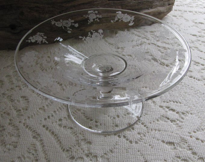 Vintage Etched Glass Small Footed Plate or Cake Stand