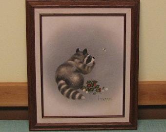 Vintage Raccoon Painting The Berry Bandit Artist Hams