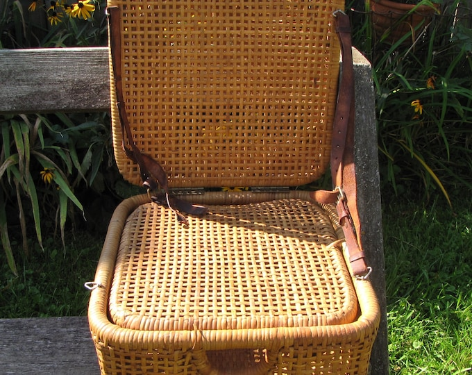 Fishing Chair Vintage Outdoor Rattan Canoe or Fisherman's Chair and Basket Camping Gear