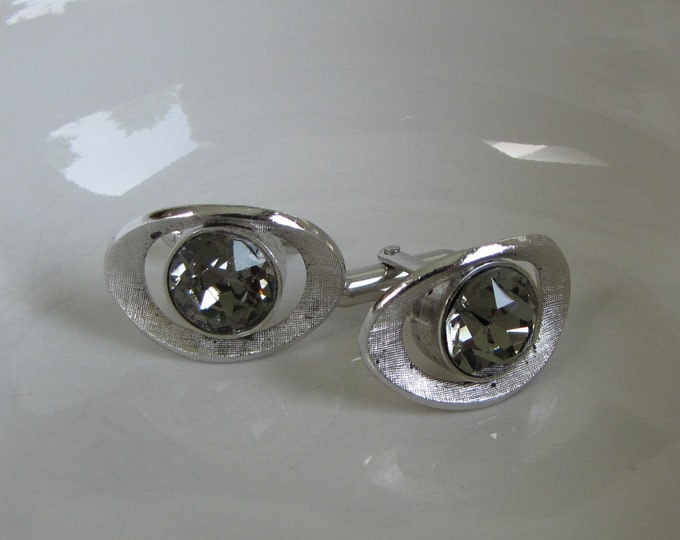 Swank Silver Toned Cufflinks With Large Center Rhinestone Vintage Men's Jewelry and Accessories