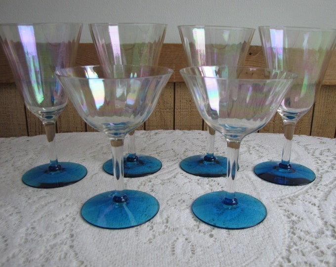 Fostoria Mother of Pearls Wine Glasses Vintage Barware Imperfections Set of Six (6) Glasses 1931-1943