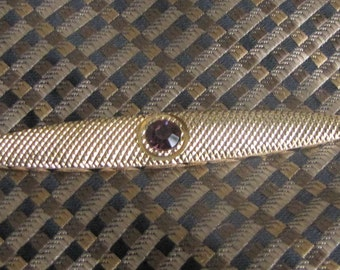 Gold Toned Tie Clip with Purple Stone Vintage Men's Jewelry and Accessories