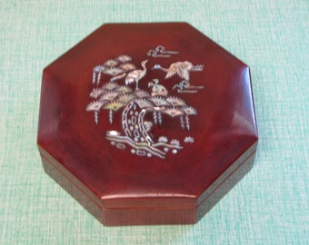 Abalone Hexagon Jewelry Box Asian-Designed Vintage Jewelry Boxes
