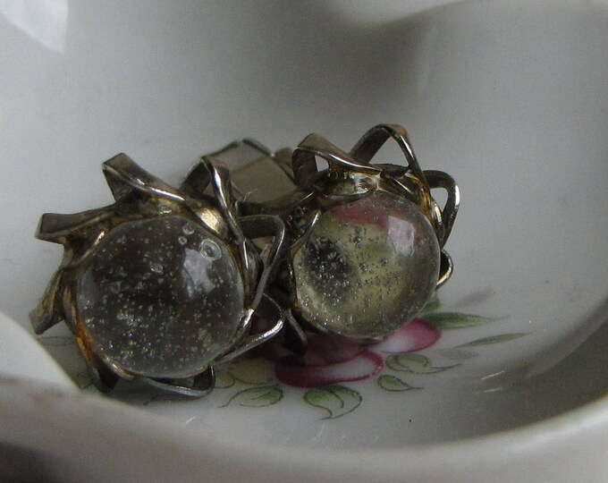 Vintage Bubble Glass Cuff Links Men's Accessories and Jewelry Gold Tone with Clear Bubble Cabochon Circa 1950s