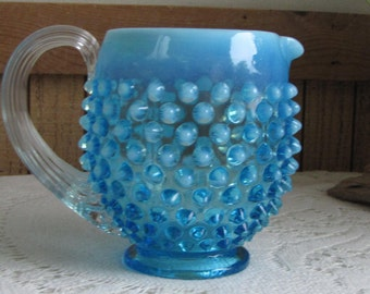 Fenton opalescent hobnail cream pitcher 1939 to 1955