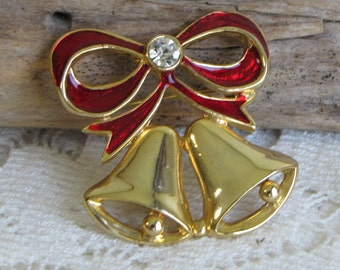 Christmas bells brooch gold toned Holiday jewelry and accessories
