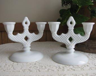 Vintage Westmoreland Milk Glass Candelabras English Hobnail Set of Two (2)