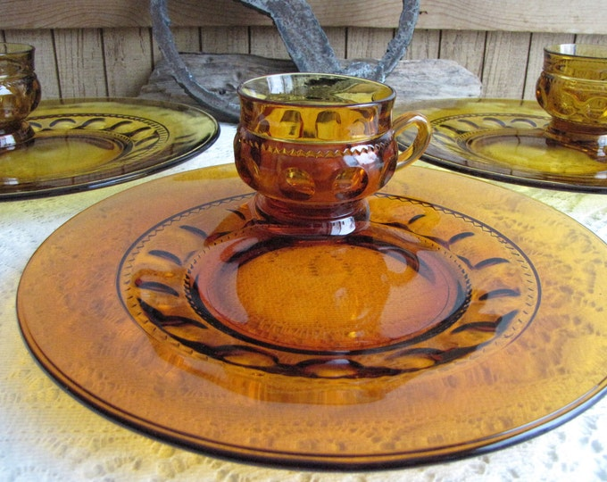 King's Crown Snack Plates and Cups Honey Gold by Colony Vintage Dinnerware and Replacements Priced Individually Nine (9) Sets Available