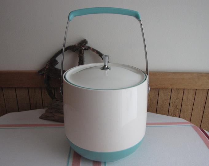 Dinex Ice Bucket King Seeley Thermos Company Dinex White and Aqua Vintage Barware