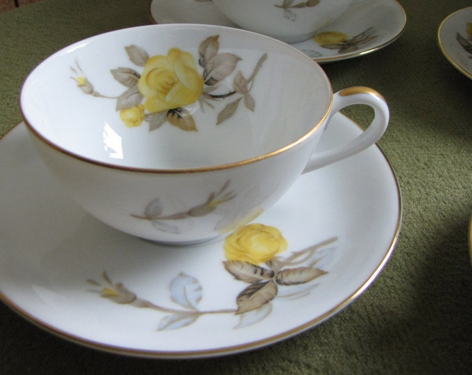 Vintage Cotillion Cups and Saucers Dinnerware and Replacements by Sango Yellow Roses Set of Four (4) 1950s