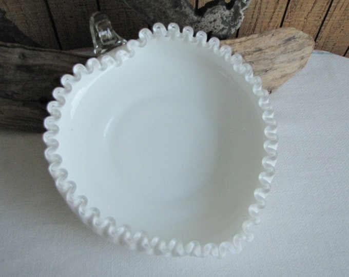 Fenton Silver Crest Loop Handled Heart Dish Milk Glass Vintage Art Glass and Home Decor
