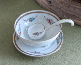 Vintage Nippon Sauce Bowl with Ladle Hand Painted