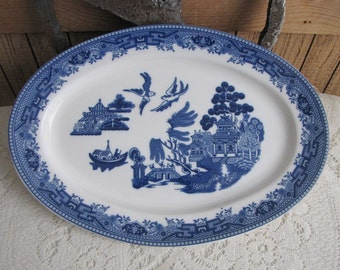 Blue Willow Platter Vintage Dinnerware and Replacements Lions and Shield Logo