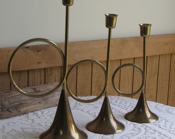Brass Hunting Horns Candleholders Vintage Home Decor Marshall Fields Set of Three (3)