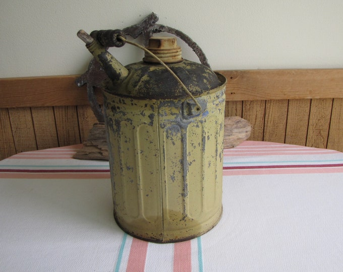Deluxe Metal Gas Can Vintage Industrial Salvage