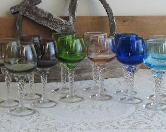 Sasaki Coronation wine glass multi-colors set of 12