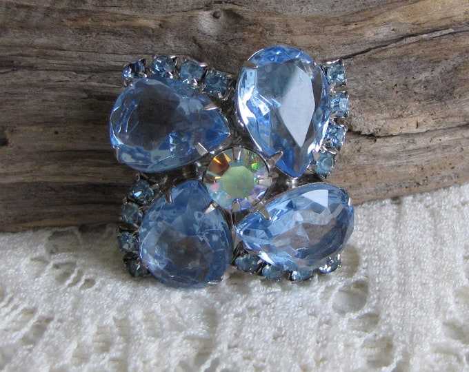 Blue Stones and Rhinestones Floral Brooch Silver Toned Watermelon Rhinestone Vintage Jewelry and Accessories