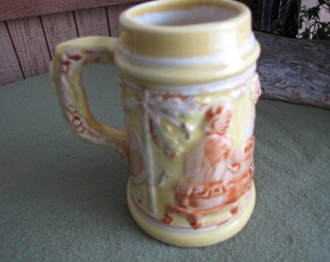 Yellow Beer Stein Made in Occupied Japan Vintage Barware Ceramic Beer Mug