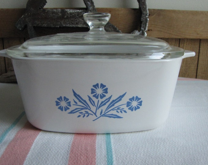 Corning Blue Cornflower Casserole 1 and a half Quart Saucepan 1972-1979 A-1 1/2 -B Vintage Cook and Ovenware