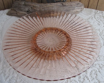 Pink Blush Depression Glass Platter Large Round Anchor Hocking Serving Tray Vintage Dinnerware and Replacements