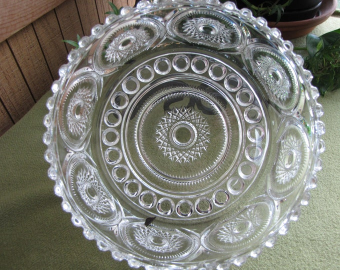 Crystal Cut Glass Bowl Royal Brighton Buttons and Starburst Pattern by Indiana Glass