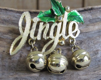 Gold Toned Jingle Bell Brooch Vintage Christmas Jewelry and Accessories