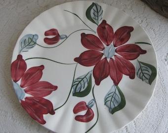 Vintage Southern Pottery Blue Ridge Plate Poinsettia Pattern