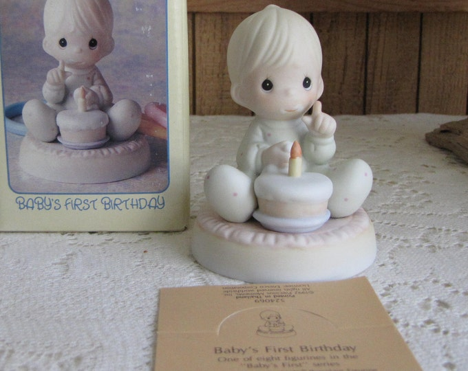 Precious Moments Baby's First Birthday One of Eight Figurine Trumpet 1994 Symbol