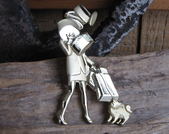 AJC Shopping Woman and Dog Brooch Vintage Jewelry and Accessories