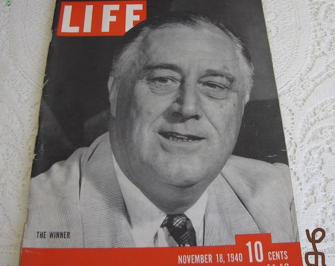 Life Magazines 1940 November 18 The Winner Vintage Magazines and Advertising