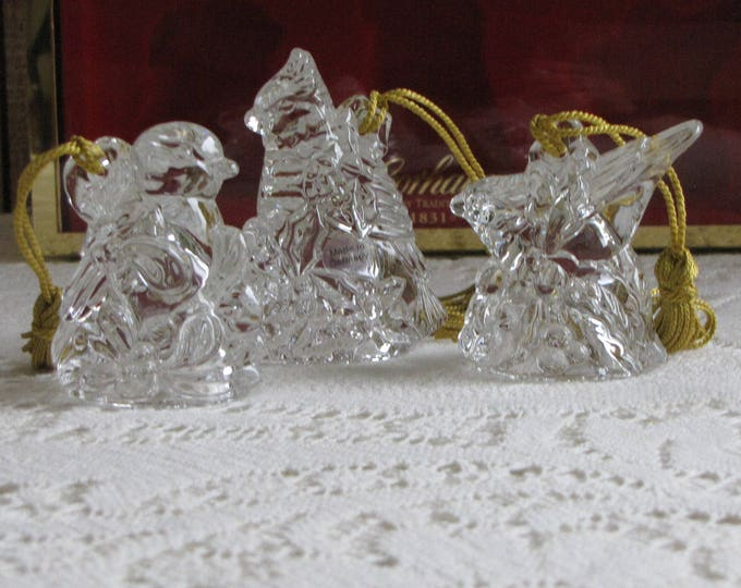 Gorham Crystal Christmas Ornaments Holiday Birds Made in Germany